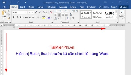 hien thi ruler trong word