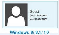 Enable, disable the Guest account, the guest account on Win 8.1 and Windows 10