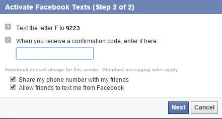 confirmation code for facebook account