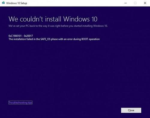 khong cai duoc windows 10, sua loi 0xC1900101-0x20017
