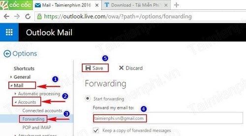 Forward mail in Hotmail, forwarding your mail to another email