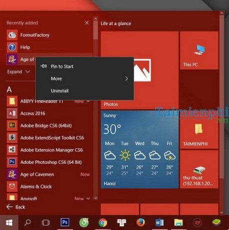 go bo cac ung dung mac dinh tren start menu windows 10