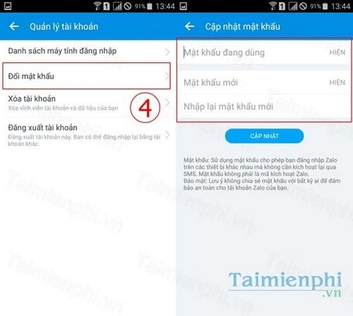 doi mat khau ung dung zalo tren dien thoai android