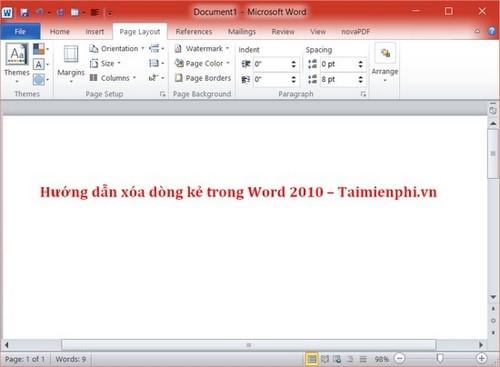 xoa dong ke trong word 2010