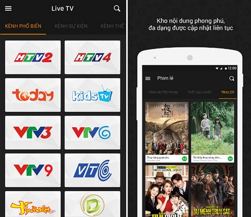 ung dung xem tv android