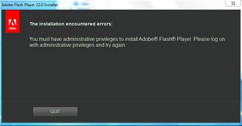 Cài Adobe Flash Player bị lỗi Please Log on with administrative Privileges and try again