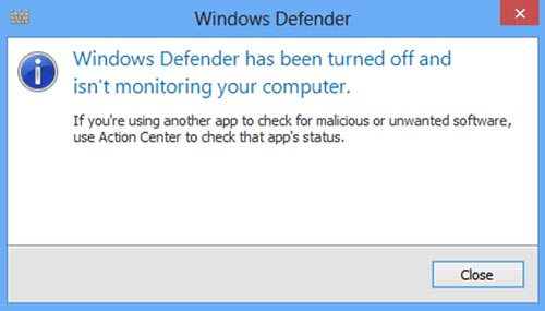 loi windows defender bi vo hieu hoa