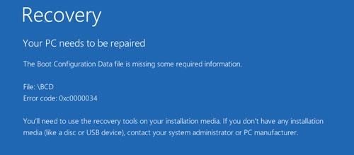 cach sua loi a boot configuration data file is missing tren windows 10