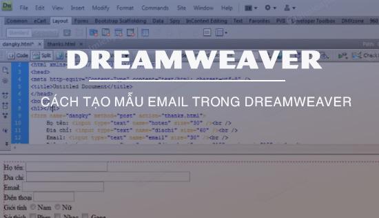 tao mau email trong dreamweaver