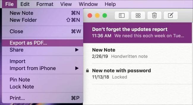 cach xuat ghi chu trong ung dung notes duoi dang pdf tren iphone ipad va mac
