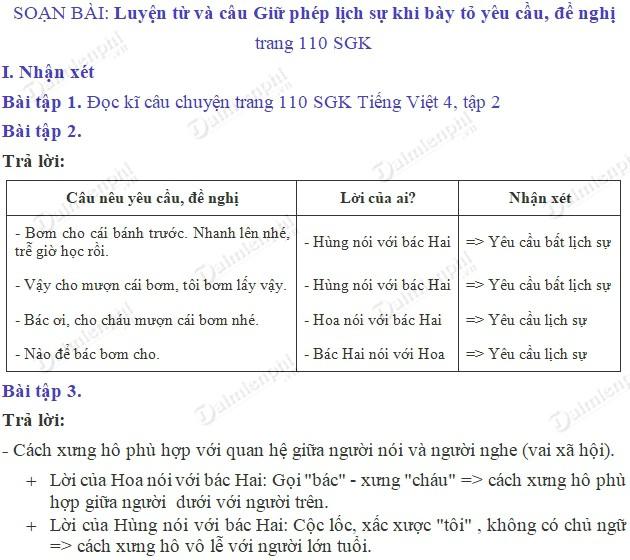 soan bai luyen tu va cau giu phep lich su khi bay to yeu cau de nghi trang 110 sgk tieng viet 4 tap 2 soan tieng viet lop 4