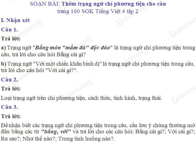 soan bai luyen tu va cau them trang ngu chi phuong tien cho cau trang 160 sgk tieng viet 4 tap 2 soan tieng viet lop 4