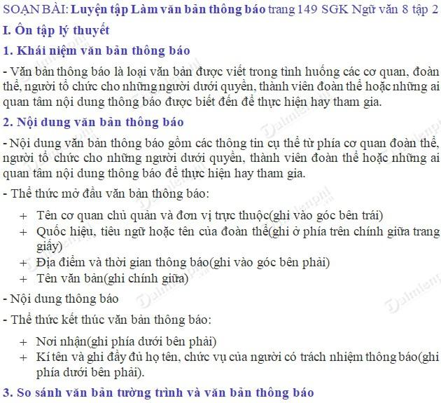 soan bai luyen tap lam van ban thong bao trang 149 sgk ngu van 8 tap 2 soan van lop 8