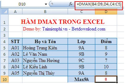 Excel - function Dmax, best function is the largest in the ...