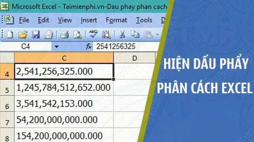 hien thi dau phay phan cach hang nghin trong excel 2003