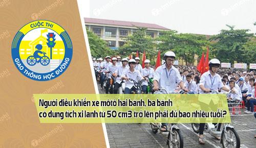 nguoi dieu khien xe moto hai banh ba banh co dung tich xi lanh tu 50 cm3 tro len phai du bao nhieu tuoi