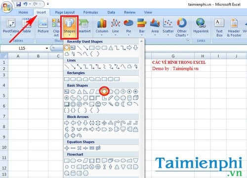 cach ve hinh trong excel