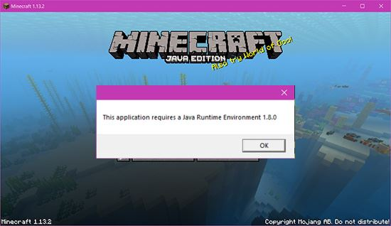 sua loi java runtime environment not found trong minecraft