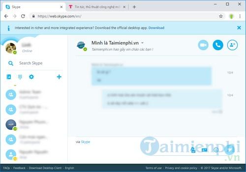 skype 8 0 cho web hien co san duoi dang ban xem truoc