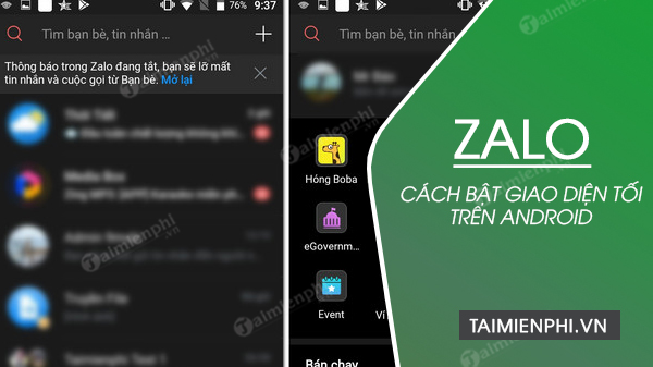 cach bat giao dien toi tren zalo cho android