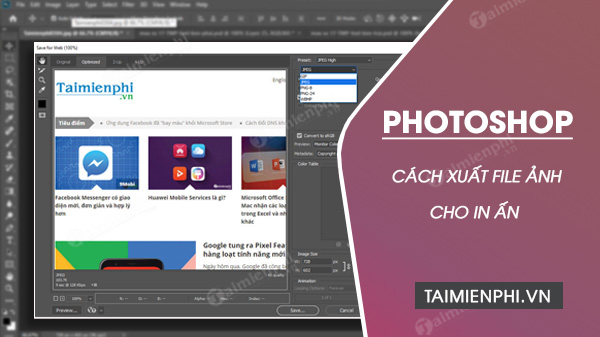 cach xuat file anh de in an trong photoshop