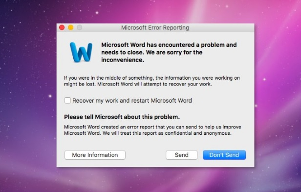 sua loi microsoft word has encountered a problem and needs to close tren mac