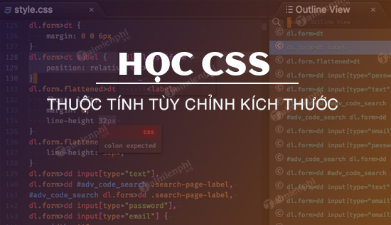 thuoc tinh tuy chinh kich thuoc trong css hoc css