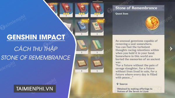 cach nhan stone of remembrance trong genshin impact