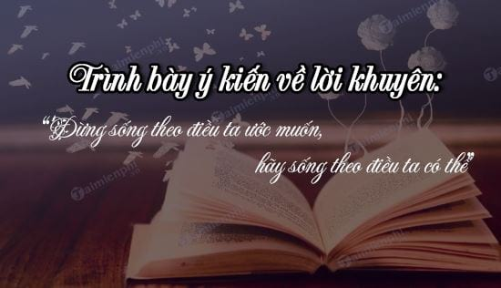trinh bay y kien ve loi khuyen dung song theo dieu ta uoc muon hay song theo dieu ta co the