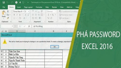 cach pha password excel 2016