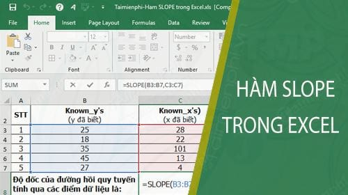 ham slope trong excel