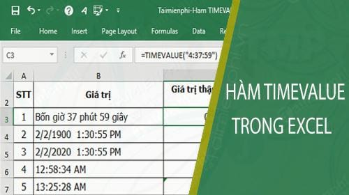 ham timevalue trong excel