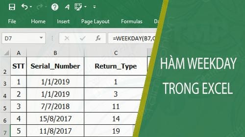 ham weekday trong excel