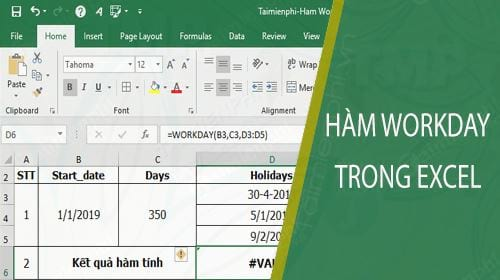 ham workday trong excel