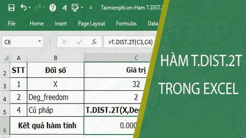 ham t dist 2t trong excel
