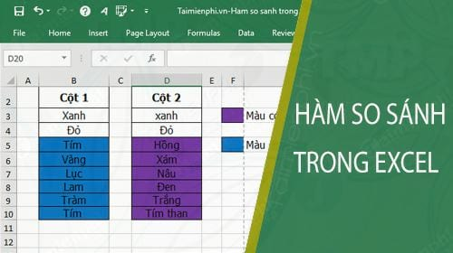 ham so sanh trong excel