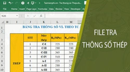 file excel tra thong so thep