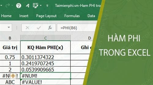 ham phi trong excel