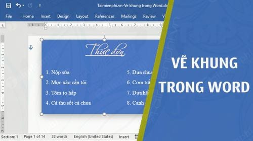 cach ve khung trong word