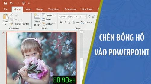 cach chen dong ho vao file powerpoint