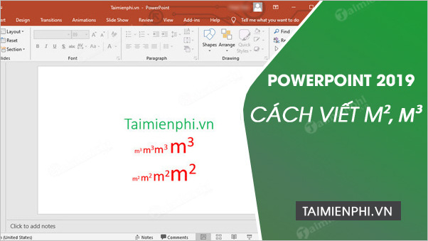 cach go viet m2 m3 trong powerpoint 2019