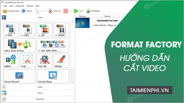 cach cat video bang format factory