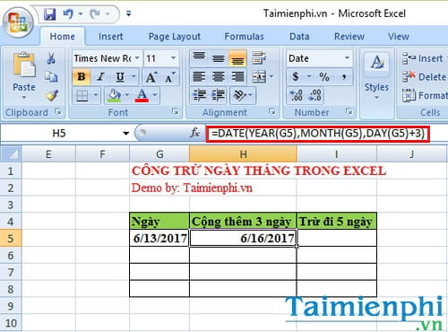 cach cong tru ngay thang trong excel